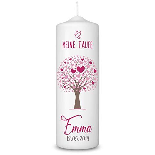Taufkerze in Weiß personalisiert - 360° Druck mit Namen und Datum - Geschenk zur Taufe - Taufgeschenke für Mädchen und Jungen mit Taufspruch inkl. Aufbewahrungsbox - Baum Rosa
