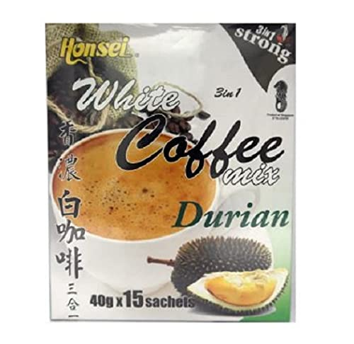 Honsei Durian White Coffee Strong (15s x 40g) 600g - Strong White Coffee with a perfect combination of Durian.
