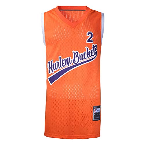 Sindello Uncle Drew #2 Basketball Jersey, Retro Athletics Basketball Jerseys for Men, 90S Hip Hop Clothing for Party Orange/XL