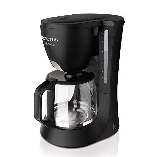 Taurus Verona 12 - Cafetière filtre 680W, 12 tasses, Verseuse en verre, Réservoir 1,2L, Filtre permanent, Système anti-goutte, Arrêt automatique, noir