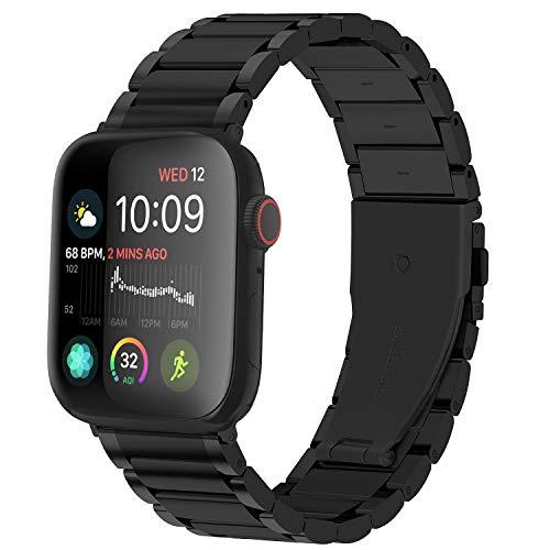 GerbGorb Cinturino Compatibile per Apple Watch 42 mm, Cinturini in Acciaio Inossidabile per iWatch Serie SE 6 5 4 3 2 1, Watch Band per iWatch, 42mm Nero+ Hardware Nero
