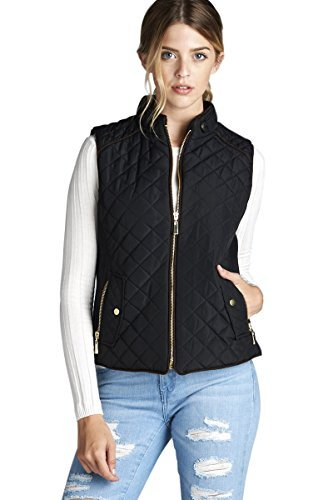 Active USA Quilted Padding Vest With Suede Piping Details Sizes from S to 3XL (Black-Large)