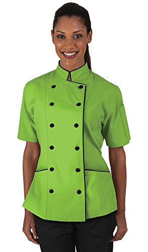 Women's Apple Green Chef Coat with Piping (XS-3X) (XX-Large)