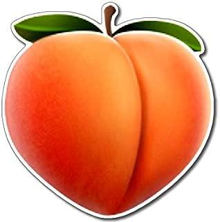 American Vinyl Peach Emoji Shaped Sticker (Funny Sexy Fun Sexting icon Logo Butt)