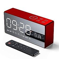 OMLTER Remote Control Bluetooth Speaker 3D Surround Sound Large Display Long Battery Life Mini Home Mirror Radio Alarm Clock Smart Speaker,Blue