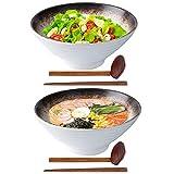 Ceramic Japanese Ramen Bowls Set of 2, Vivimee 60 oz Large Noodle Bowls, Porcelain Pho Bowls, Soup...
