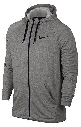 Nike Herren Dry Fleece Langarm Oberteil mit Kapuze Full-Zip, grau (Dark Grey Heather/Black), L