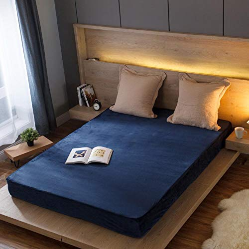 GTWOZNB Bed Sheets, Ultra Soft Silky Smooth and Wrinkle-Resistant Autumn and winter bed sheet thickened warmth-midnight blue_020_180*200cm