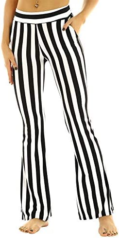 ACSUSS Womens High Waist Black White Vertical Striped Bell Bottom Flare Legging Long Pants Black product image