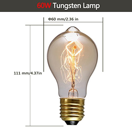 DORESshop Vintage Edison Bulbs, 60W A19 Antique Style Filament Pendant Lighting, Amber Glass (E26), Dimmable Light Bulb for Home Light Fixtures, Omnidirectional 360 Degrees Angles, 6-Pack