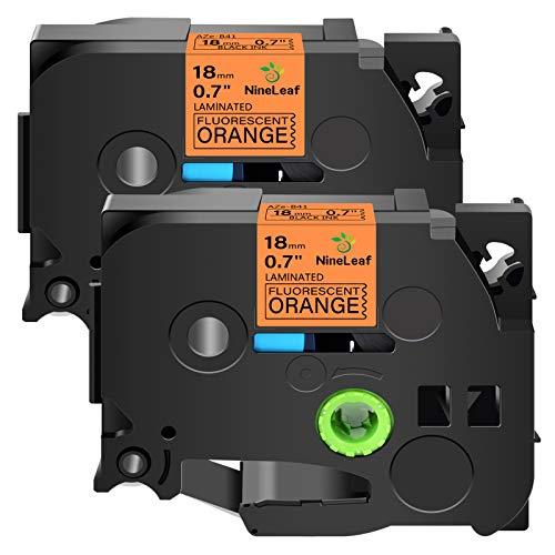 """Nineleaf 2 Pack Compatible for Brother P-Touch TZEB41 TZ-B41 TZB41 TZe-B41 3/4"""" 0.7 inch x 16.4 ft(5m) Black on Fluorescent Orange Laminated TZe TZ Label Tape use in PT-E550 PT-D600 PT-D400 PT-P710BT"""