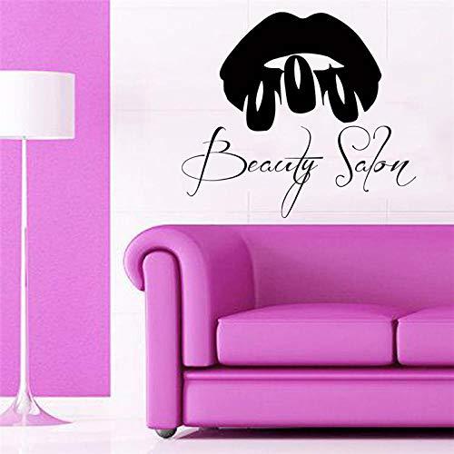 Adesivi murali per salone di bellezza per ragazze Labbra sexy Citazioni per unghie artistiche Adesivi murali per salone di bellezza Soggiorno Modello decorativo per la casa femminile DIY-Bianco (H60