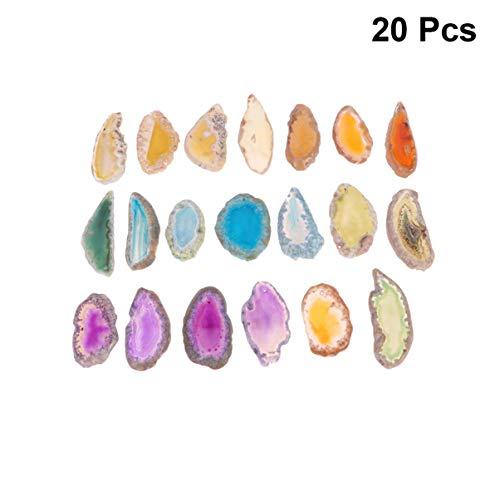 Yardwe 20PCS Achat Scheiben Bulk Natürlichen Achat Leuchttisch Scheiben Achat Steine für Schmuck Machen Windspiel Anhänger Dekoration