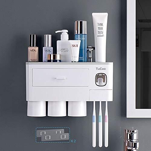 TuCao - Soporte para cepillo de dientes montado en la pared con dispensador automático de pasta de dientes, 7 ranuras para cepillos de dientes con cubierta a prueba de polvo (3 Tazas)