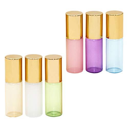 HEALLILY 6 Piezas de Botellas de Rodillos de Aceite Esencial Vacías Recargables Roll On Botellas Envases de Vidrio Desodorante Botellas a Prueba de Fugas para El Cuidado de Las Pieles de