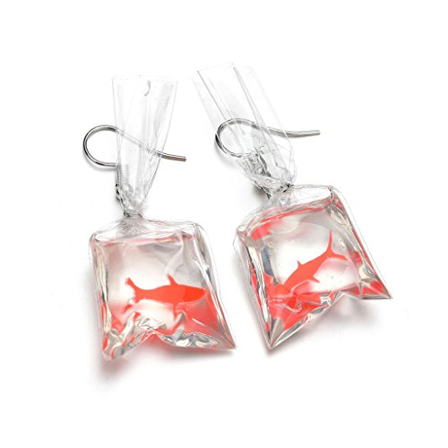 Gjyia Women Funny Goldfish Water Bag Shape Cuelga Gancho Pendientes Charm Joyas Regalo, Color: Claro.