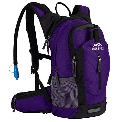 Insulated Hydration Backpack Pack with 2.5L BPA FREE Bladder – Keeps Liquid Cool up to 4 Hours, Lightweight Daypack Water Backpack For Hiking Running Cycling Camping, 18L (Purple)