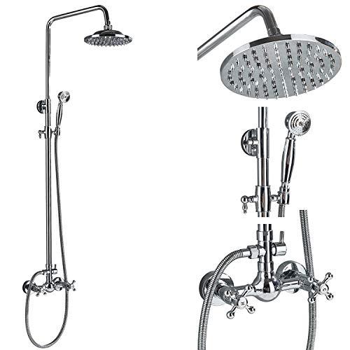 Rozin Bathroom Chrome Shower Faucet Set 2 Knobs Mixing 8-inch Rainfall Shower Head + Handheld Spray
