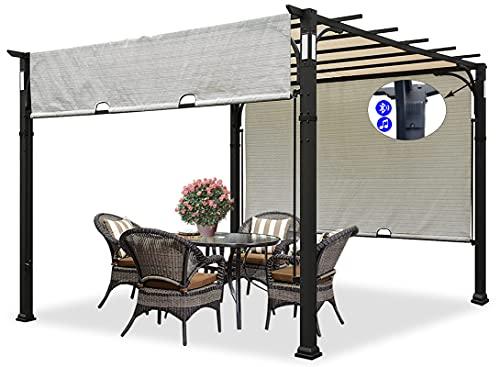 CoastShade 10x10 Heavy Duty Outdoor Patio Pergola Backyard Shelter with Unique Fabric TESLIN for Sun...