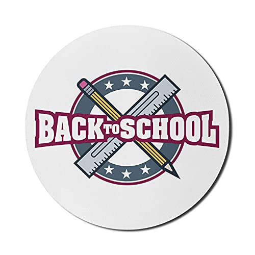 Back to School Mauspad für Computer, Back to School Typografie Logo Bleistift Geometrie Lineal Grafik, rundes rutschfestes dickes Gummi Modern Gaming Mousepad, 8 'rund, schieferblau dunkel magenta