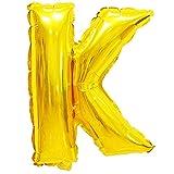 Globos de helio XXL de papel de aluminio, letras y números y caracteres en color dorado; plateado, 80 cm, gran decoración para fiesta de cumpleaños, boda, fiesta, plástico, K – oro., dorado