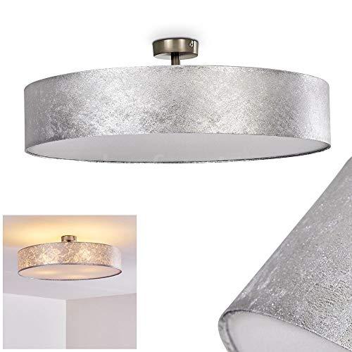 Deckenleuchte Foggia, runde Deckenlampe mit Lampenschirm aus Stoff in Silber/Weiß, Ø 60 cm, LED-fähig, 3 x E27-Fassung, 40 Watt, Retro-Design