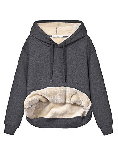 Haellun Womens Casual Winter Warm Fleece Sherpa Lined Pullover Hooded Sweatshirt (Dark grey, Small)