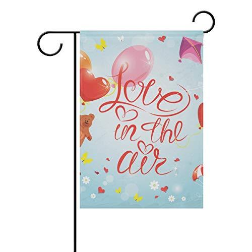 ZXYAIAN Bandera de jardín con diseño de oso animal, diseño de corazón, flores florales, mariposa, jardín, patio, para exterior de casa, maceta, doble cara, impresión de 30,5 x 45,7 cm