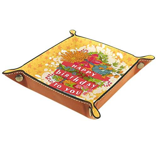YATELI Caja de Almacenamiento pequeña, Bandeja de Valet para Hombre,Feliz cumpleaños (6),Organizador de Cuero para Llaves de Caja de Monedas