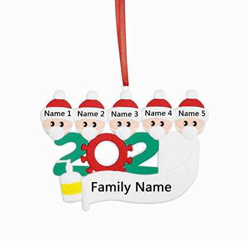 Ukedio Personalized Decorative Hanging Ornaments 2020 Family Members Name Gifts Survivor Family Customized Christmas Ornament Kit with Mask (Customize It Yourself)