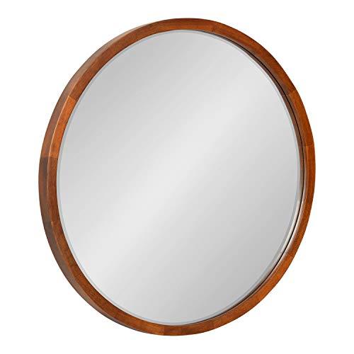 Kate and Laurel McLean Mid-Century Wood Framed Round Wall Mirror, 24 inch Diameter, Walnut Brown, Decorative Modern Mirror