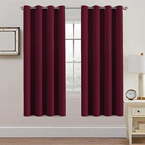 H.VERSAILTEX Thermal Insulated Blackout Curtains - Antique Copper Grommet Top Window Drapes - Burgundy- 52' W x 72' L - (Set of 2 Panels)
