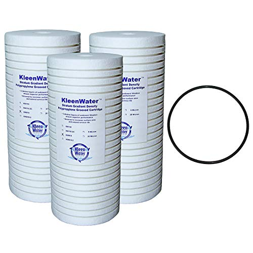 KleenWater KW810 Grooved Replacement Cartridges, Dirt Rust Sediment Filtration, Set of 3, WS03X10039 Compatible O-ring (1)