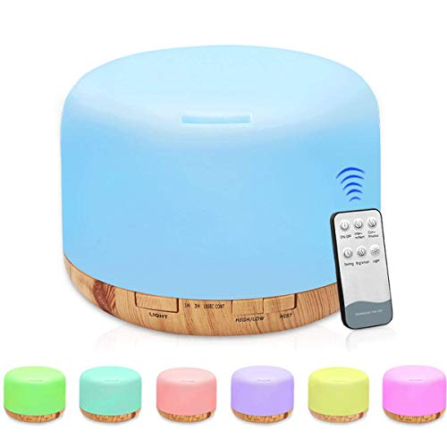 500 ml Humidificador, Humidificador Ultrasónico de Aire con Mando a Distancia, Difusor Aceites Esenciales con 7 Colores...