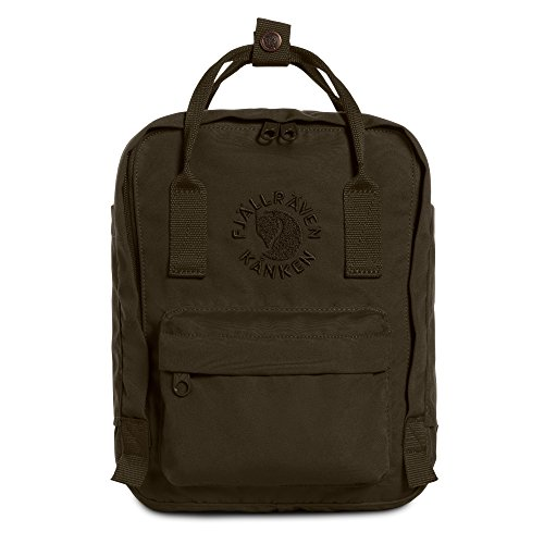 Fjallraven, Kanken, Re-Kanken Mini Recycled Backpack for Everyday Use, Heritage and Responsibility Since 1960, Dark Olive