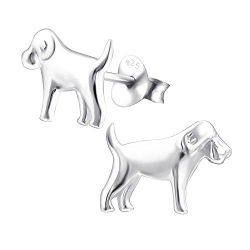Laimons Damen-Ohrstecker Hund glanz Sterling Silber 925