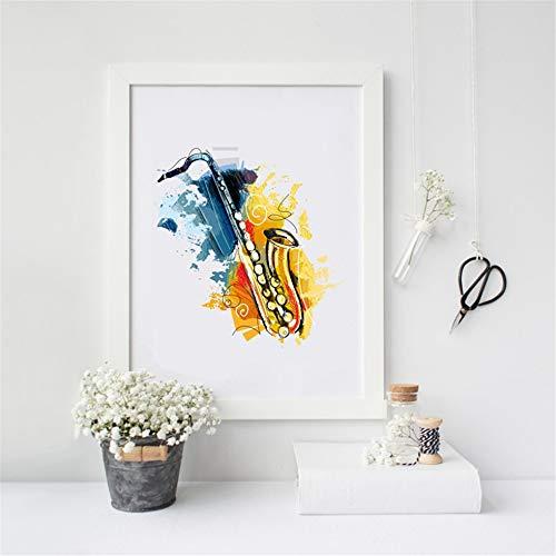 Danjiao Abstrakte Musikinstrumente Saxophon Wand Kunstdruck Poster Aquarell Leinwand Jazz Malerei Bild Saxophon Dekoration Wohnzimmer 40x60cm