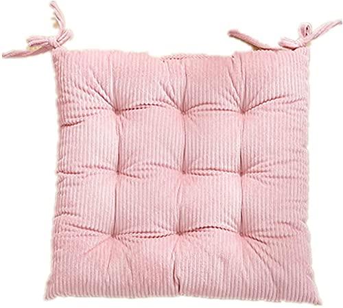 2er Set Sitzkissen Stuhl, Stuhlkissen 40x40 mit Bändern, Weiches und Atmungsaktives Baumwollstuhlkissen für BüRos, Wohnzimmer, Balkone und Gärten Rosa