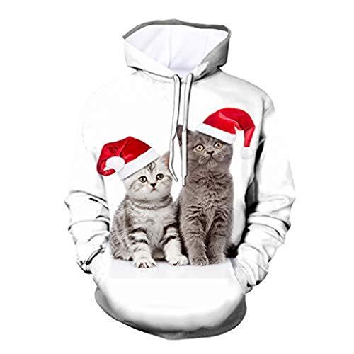 ODRD Christmas Herren Hoodie Weihnachtspullover - Unisex 3D Katze Hund Ugly Sweatshirt Sweater - Hässliche Pulli Lustig Weihnachtspulli Damen Weihnachtsparty S~XXXL (Zwei Kätzchen, M)