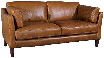 2-Sitzer Luxus-Kunstleder Weiß Sofa Couch Sitzmöbel mit zwei Kissen 120 x 62,5cm