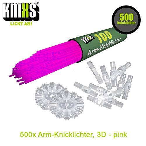 KNIXS 500x Arm-Knicklichter – Party-Pink (Rosa) leuchtend inkl. 500x 3D-Verbinder und 10x Ballverbinder und 7-Lochverbinder, seit 15 Jahren in Profiqualität, deutsche Testnote: 1,4 - für Party, Festival, Geburtstag oder als Dekoration
