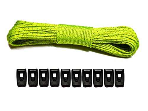 LiteOutdoors Guyline & Tensioner Kit 60' - 1.8mm Ultralight Reflective Tent Cord, Lightweight...