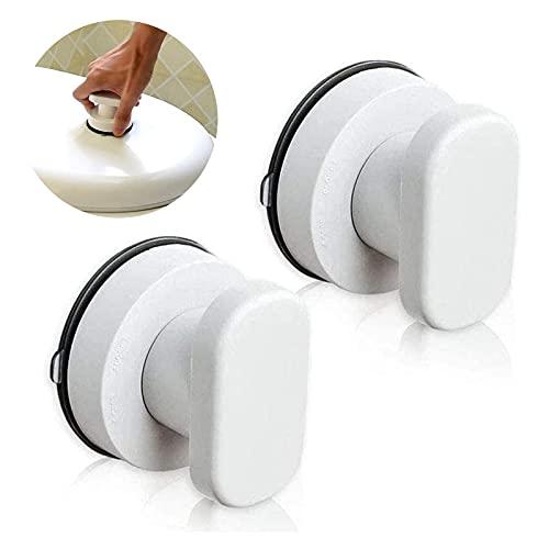 2 piezas Mangos de Ventosa, Tirador de Puerta de aspiración, manija refrigerador Armario Nevera Puerta Vidrio Manillas de movilidad portátiles Manillas con ventosa fuerte para el baño