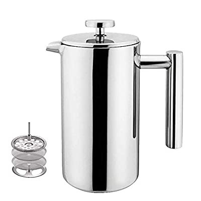 French Press Coffee Maker, Double Wall Stainless Steel Coffee Maker French Press Tea Pot with Filter, 350ML/12OZ