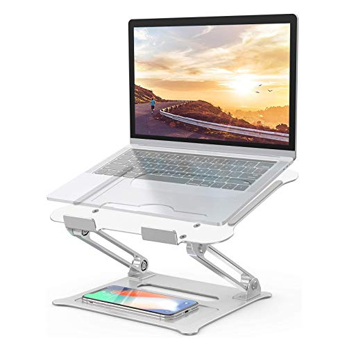 Adjustable Laptop Stand for Desk, Ergonomic Laptop Holder, Computer Stand for Laptop Notebook Compatible with MacBook Air Pro, HP, Lenovo Light Weight Aluminum Up to 17' (Silver)