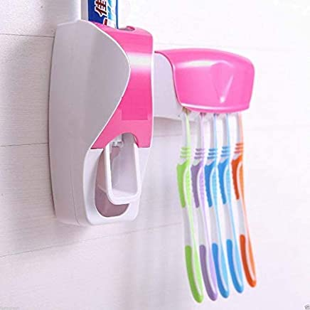 ShoppoWorld Plastic Automatic Hands Free Toothpaste Dispenser Wall Mounted Toothpaste Squeezer Dispenser with Detachable 5 Hole Toothbrush Holder (Multicolor)