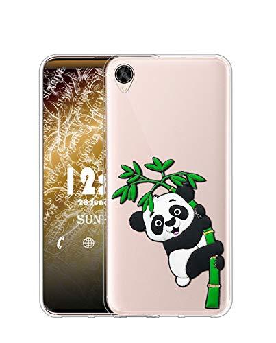 Sunrive Kompatibel mit Oppo R9 Plus Hülle Silikon, Transparent Handyhülle Schutzhülle Etui 3D Hülle (W1 Panda 2)+Gratis Universal Eingabestift MEHRWEG