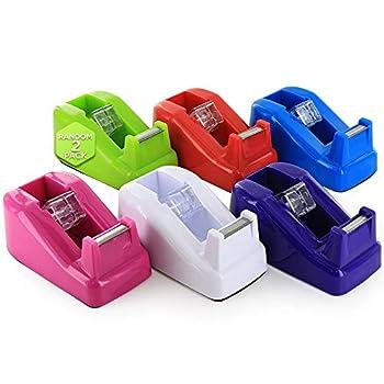 Emraw Mini Core Desktop Tape Dispenser with Tape Refills Non-Slip Home One Hand Tape Holder Blade Non-Skid Base Transparent Tape Dispenser School Supplies  Random Pack of 2