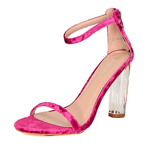 Sandalias de tacón de Terciopelo Transparente para Mujer, con Correa al Tobillo y Tiras de tacón Grueso, Talla 3-8