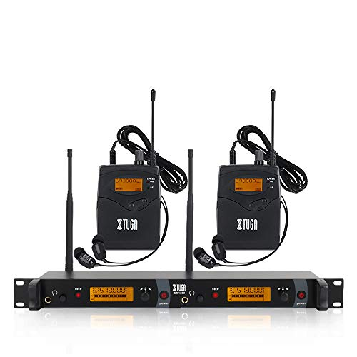 IEM1200 Wireless in Ear Monitor System 2 Channel 2/4 Bodypack Monitoring with in Earphone Wireless Type Used for Stage or Studio (2 Bodypacks)